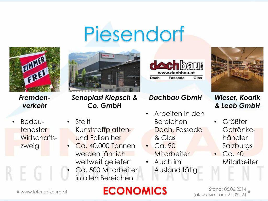 Piesendorf ECONOMICS Fremden- verkehr Bedeu-tendster Wirtschafts-zweig
