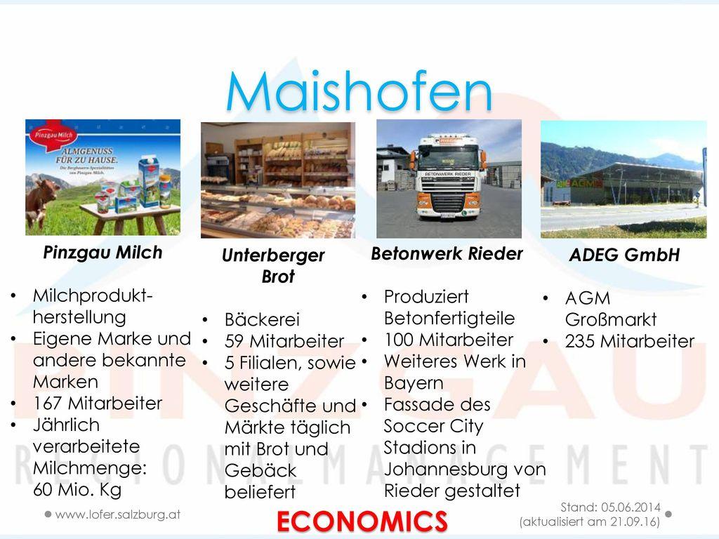 Maishofen ECONOMICS Pinzgau Milch Milchprodukt-herstellung