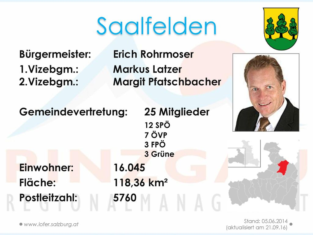 Saalfelden Bürgermeister: Erich Rohrmoser