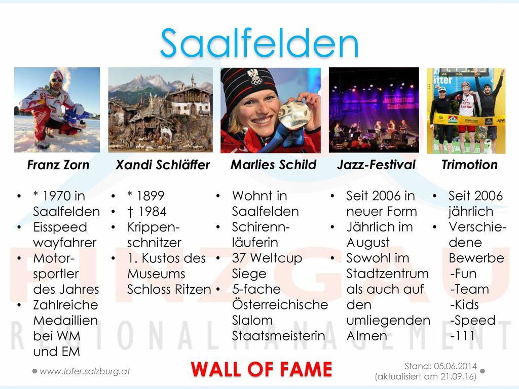 Saalfelden WALL OF FAME Franz Zorn * 1970 in Saalfelden