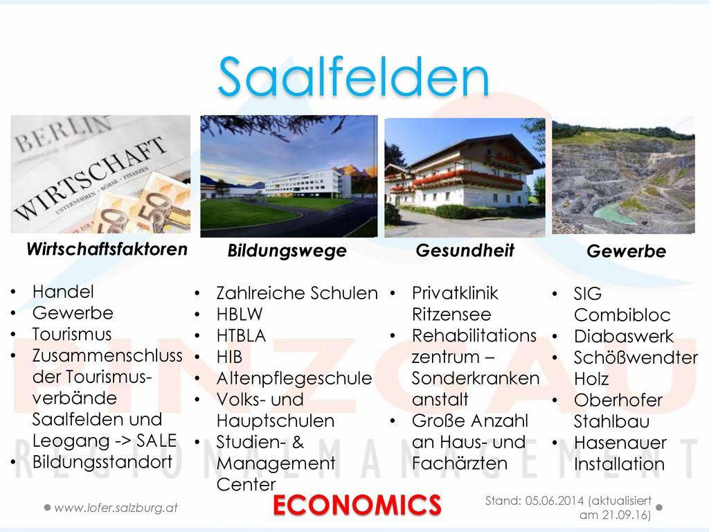 Saalfelden ECONOMICS Wirtschaftsfaktoren Handel Gewerbe Tourismus