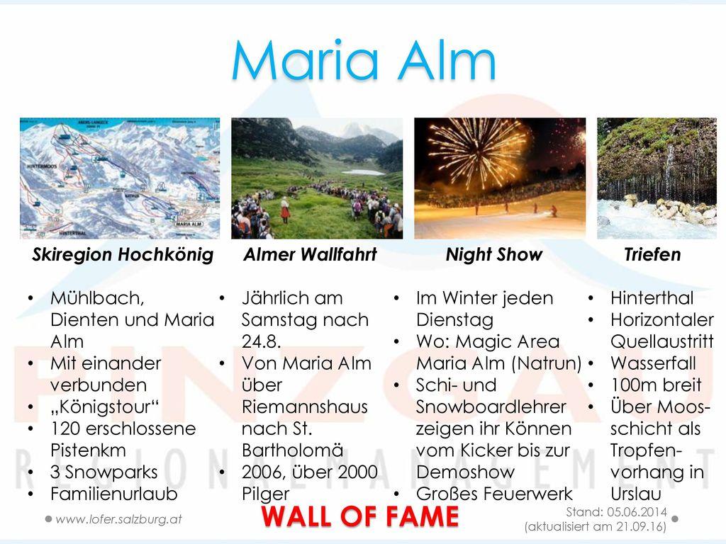 Maria Alm WALL OF FAME Skiregion Hochkönig