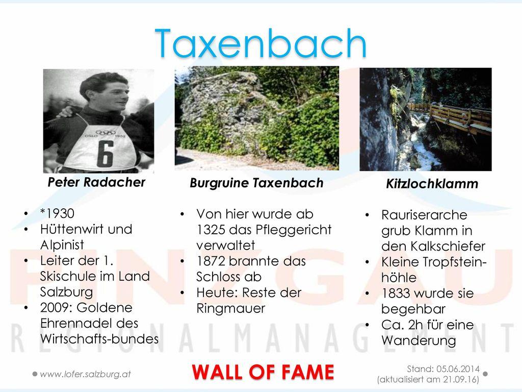 Taxenbach WALL OF FAME Peter Radacher Burgruine Taxenbach