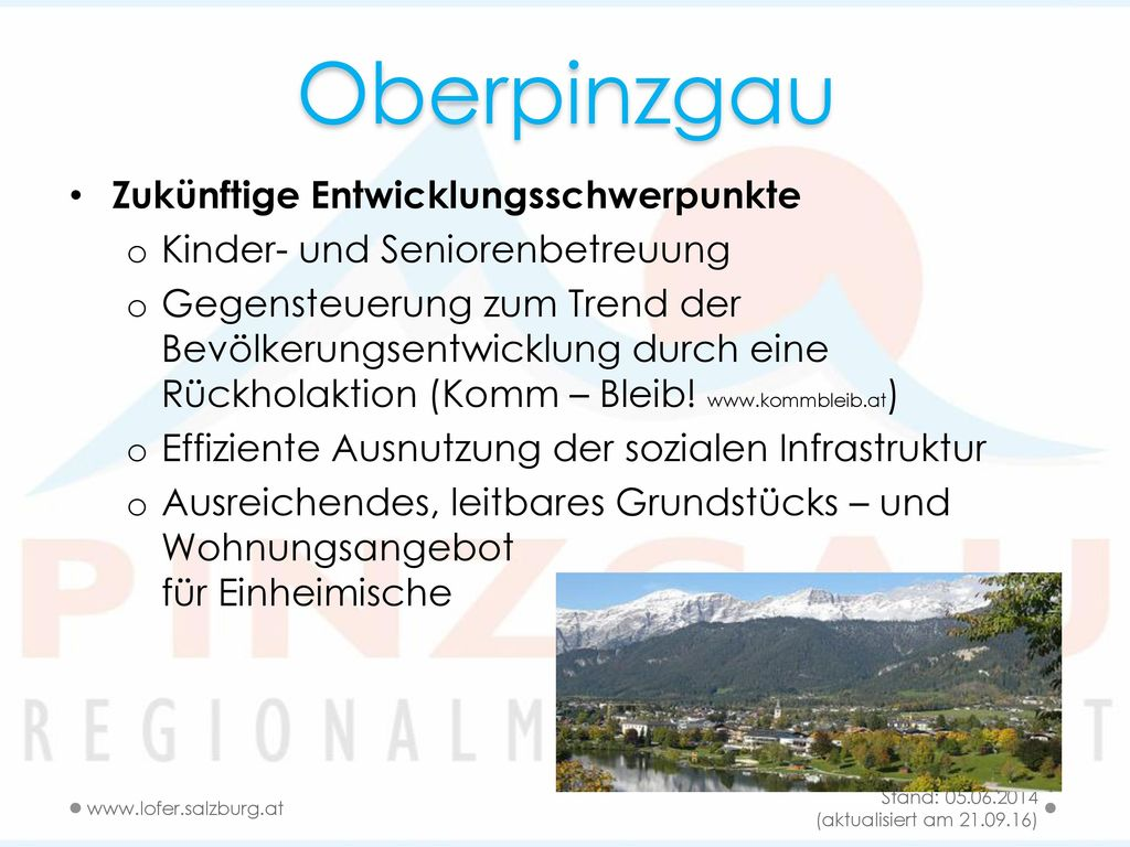 Oberpinzgau Zukünftige Entwicklungsschwerpunkte