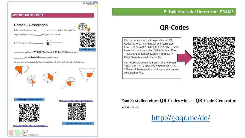 http://goqr.me/de/ QR-Codes Beispiele aus der Unterrichts-PRAXIS