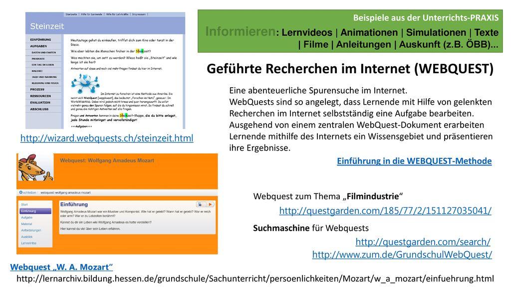 Geführte Recherchen im Internet (WEBQUEST)