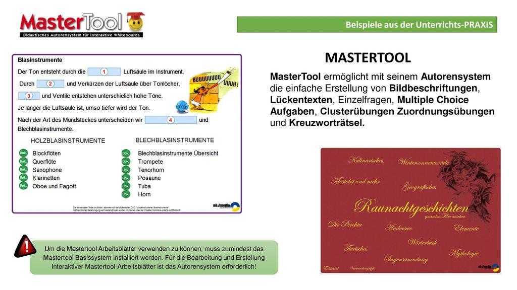 MASTERTOOL Beispiele aus der Unterrichts-PRAXIS