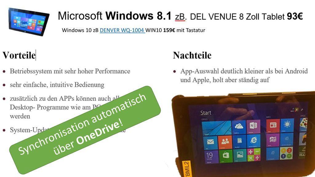 Synchronisation automatisch über OneDrive!