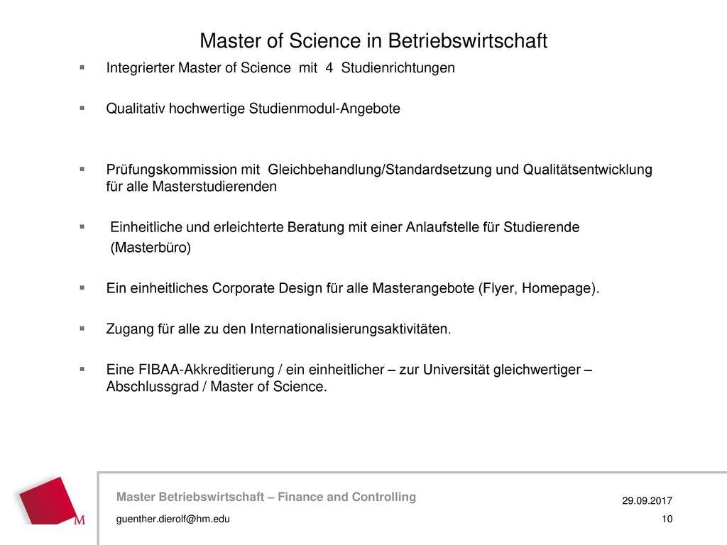 Master of Science in Betriebswirtschaft