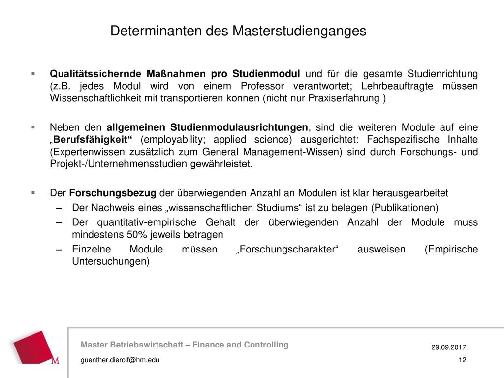 Determinanten des Masterstudienganges