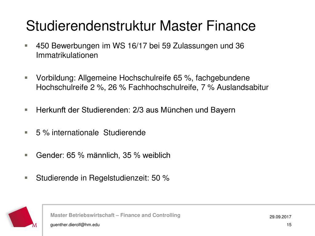 Studierendenstruktur Master Finance