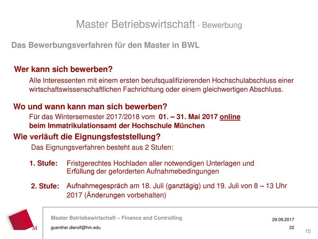 Master Betriebswirtschaft - Bewerbung