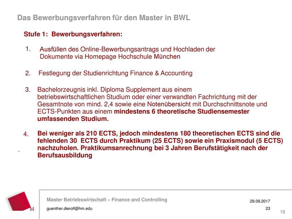 Das Bewerbungsverfahren für den Master in BWL