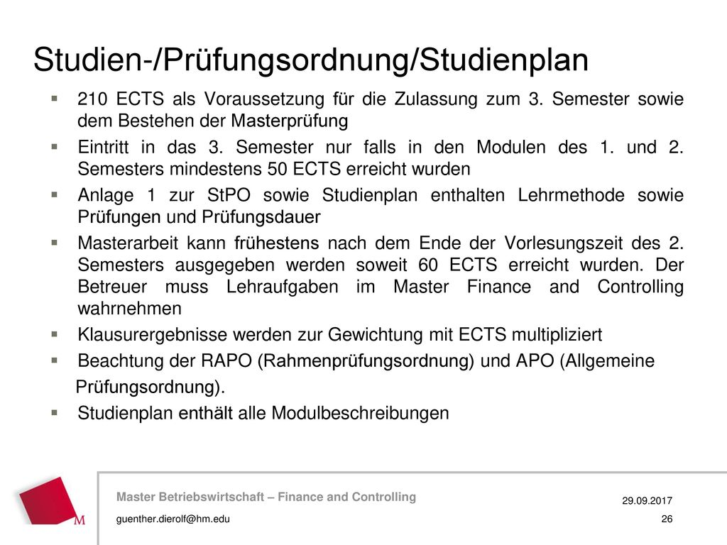 Studien-/Prüfungsordnung/Studienplan
