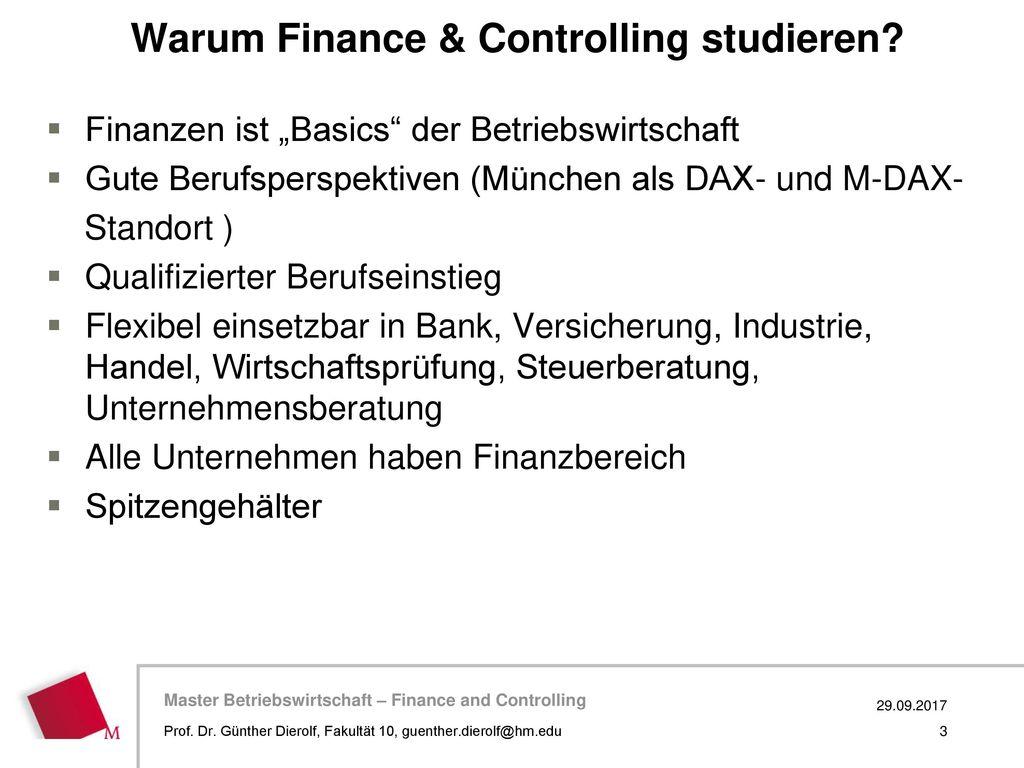 Warum Finance & Controlling studieren