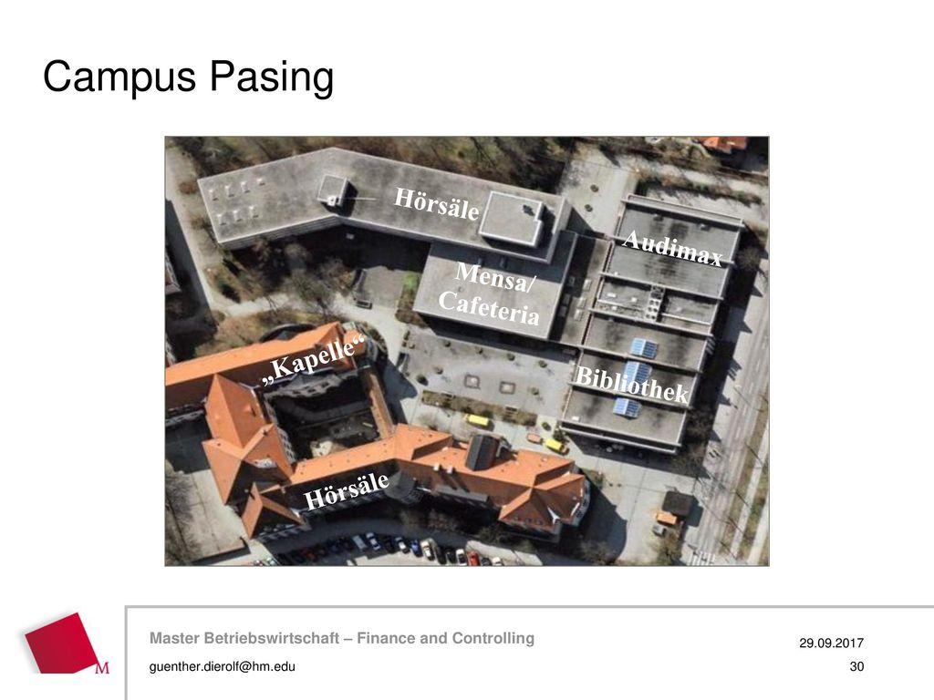 "Campus Pasing Hörsäle Audimax Mensa/ Cafeteria ""Kapelle Bibliothek"