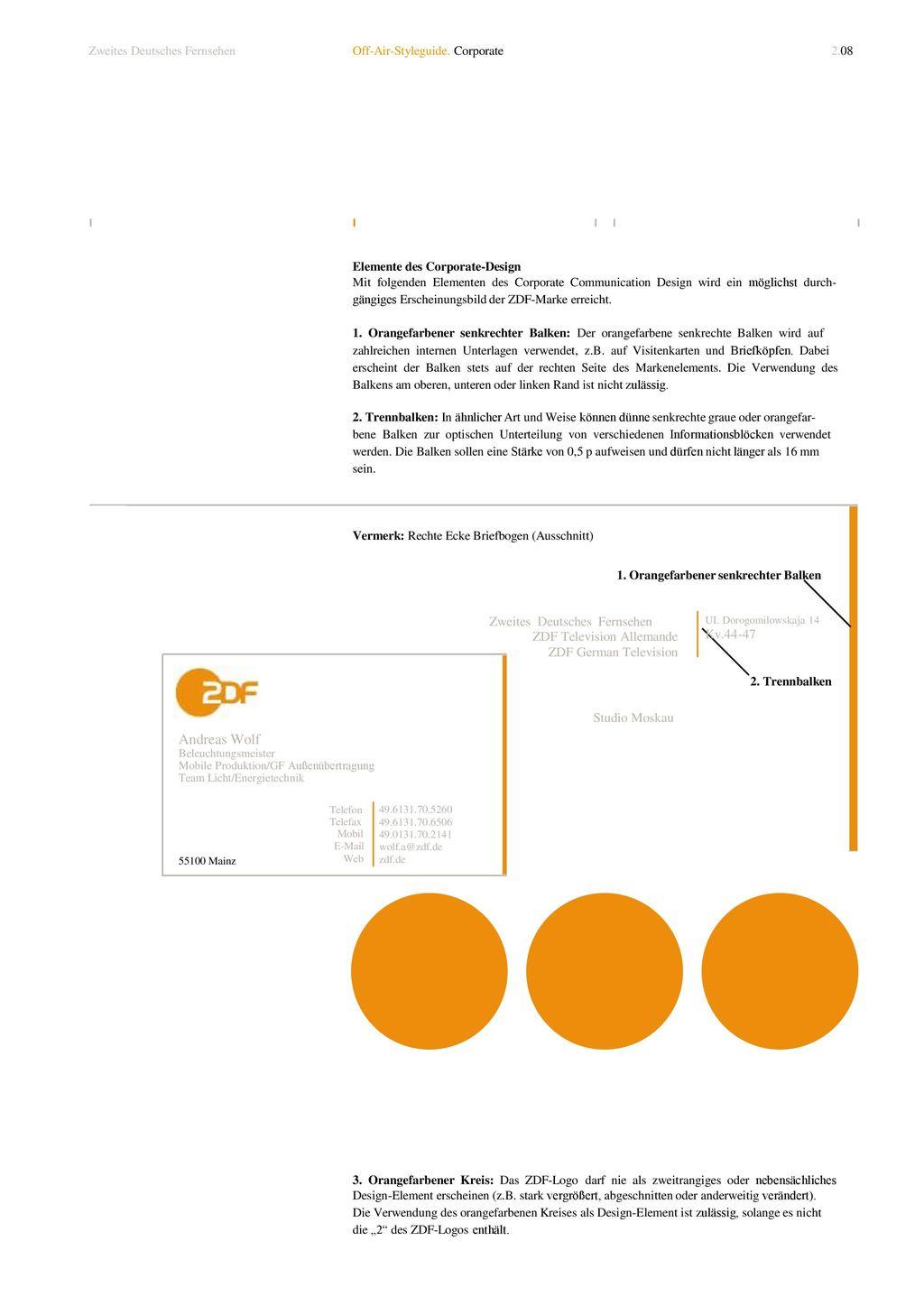 1. Orangefarbener senkrechter Balken