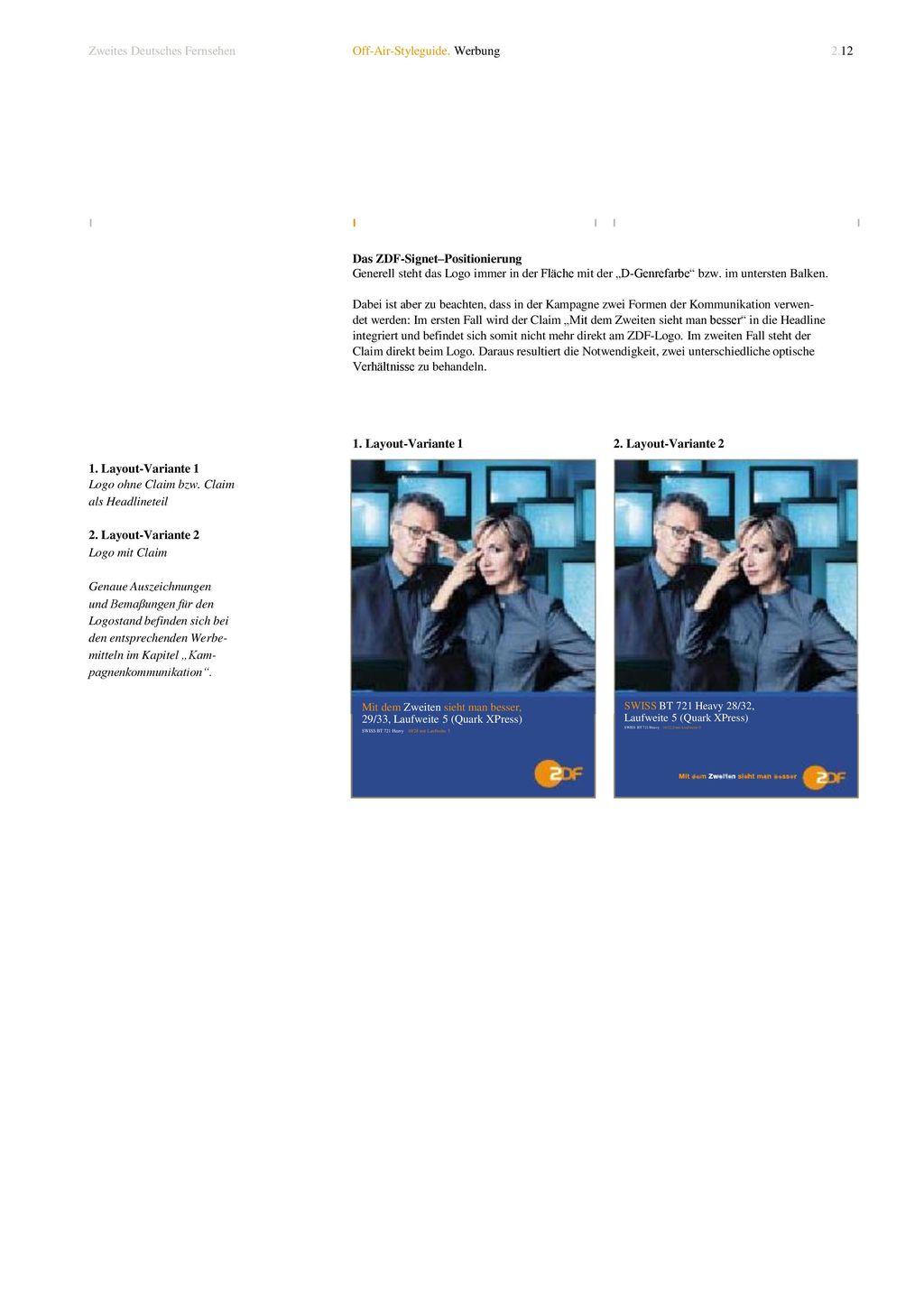Zweites Deutsches Fernsehen Off-Air-Styleguide. Werbung 2.12