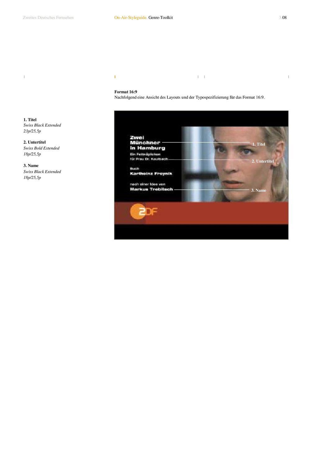 1. Titel 2. Untertitel 3. Name Zweites Deutsches Fernsehen