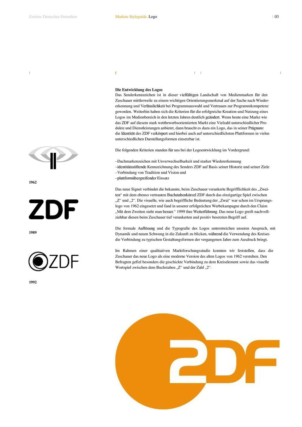 Zweites Deutsches Fernsehen Marken-Styleguide. Logo 1.03