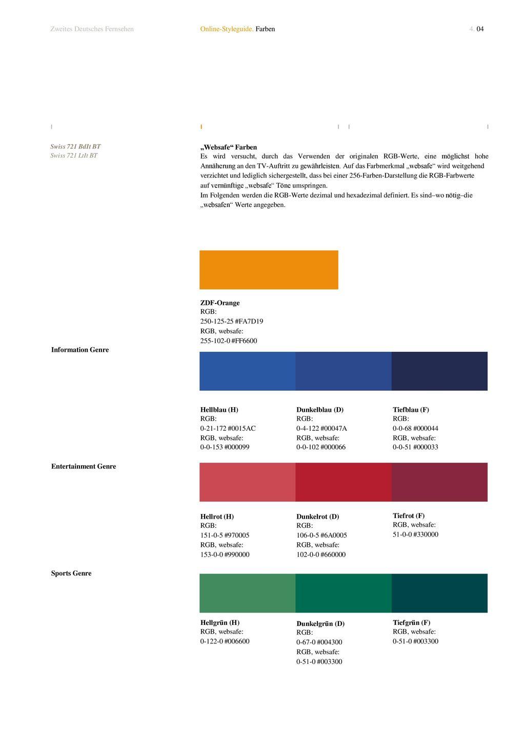 Zweites Deutsches Fernsehen Online-Styleguide. Farben 4. 04