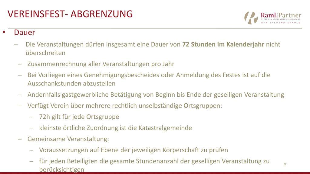 Vereinsfest- Abgrenzung