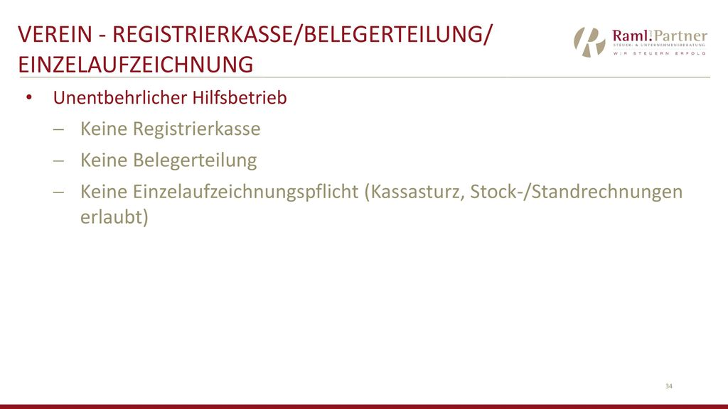 VEREIN - Registrierkasse/Belegerteilung/ Einzelaufzeichnung