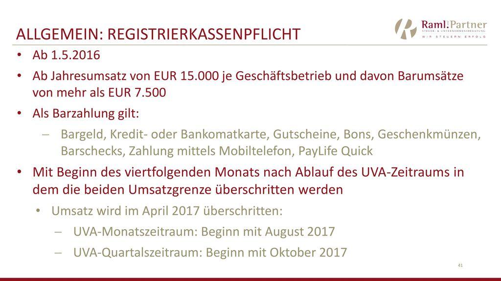 ALLGEMEIN: RegistrierkassenPflicht