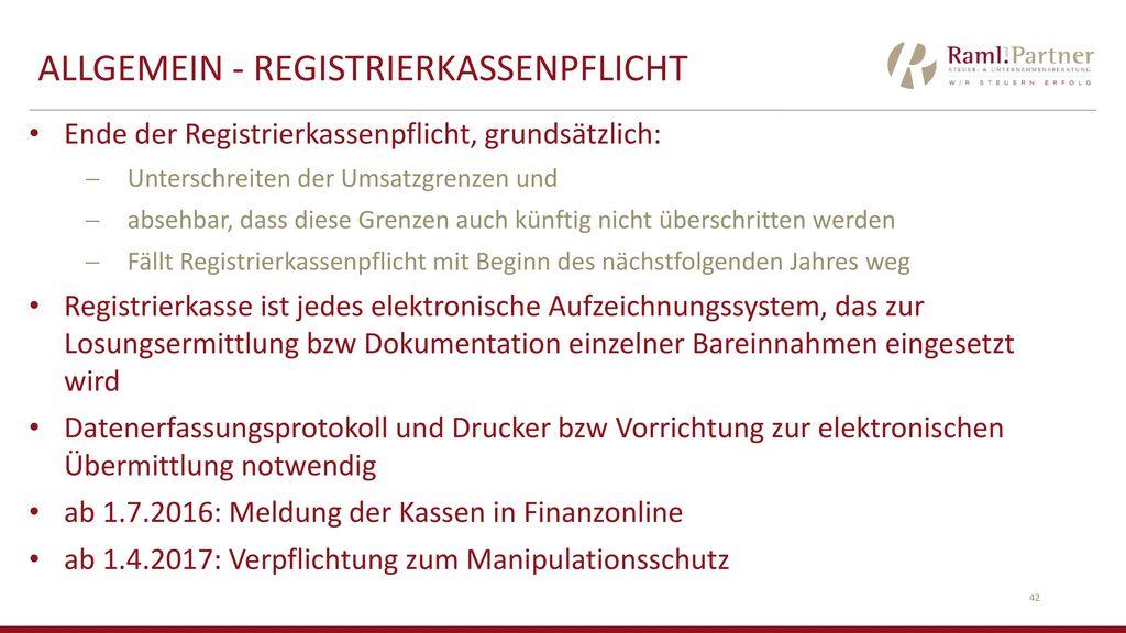 ALLGEMEIN - RegistrierkassenPflicht