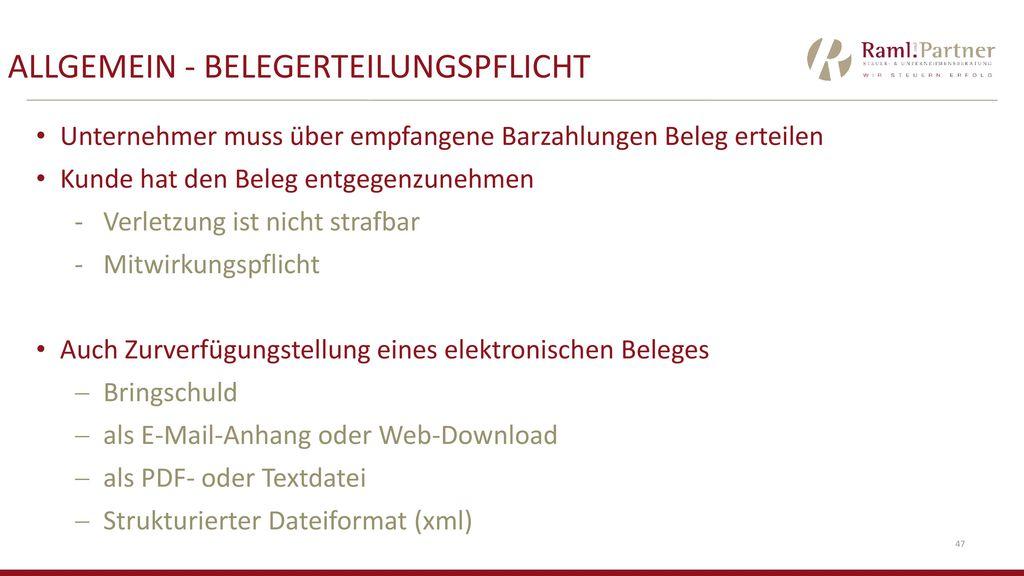 ALLGEMEIN - BelegerteilungsPflicht