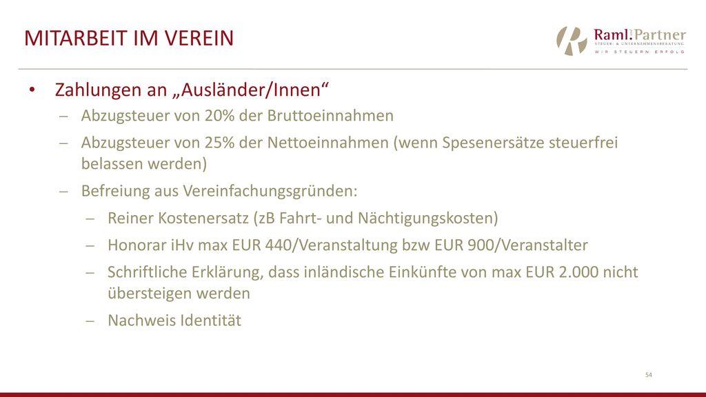 """Mitarbeit im Verein Zahlungen an """"Ausländer/Innen"""