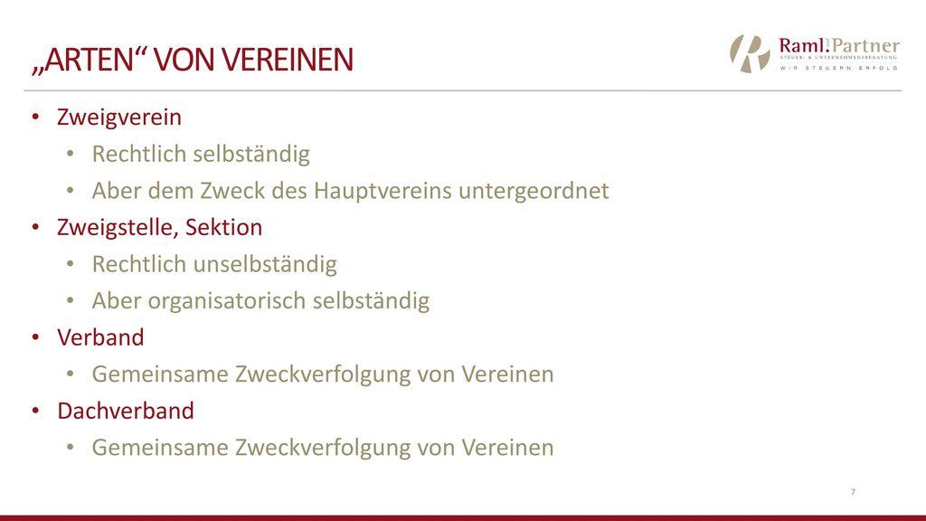"""""""Arten von vereinen Zweigverein Rechtlich selbständig"""