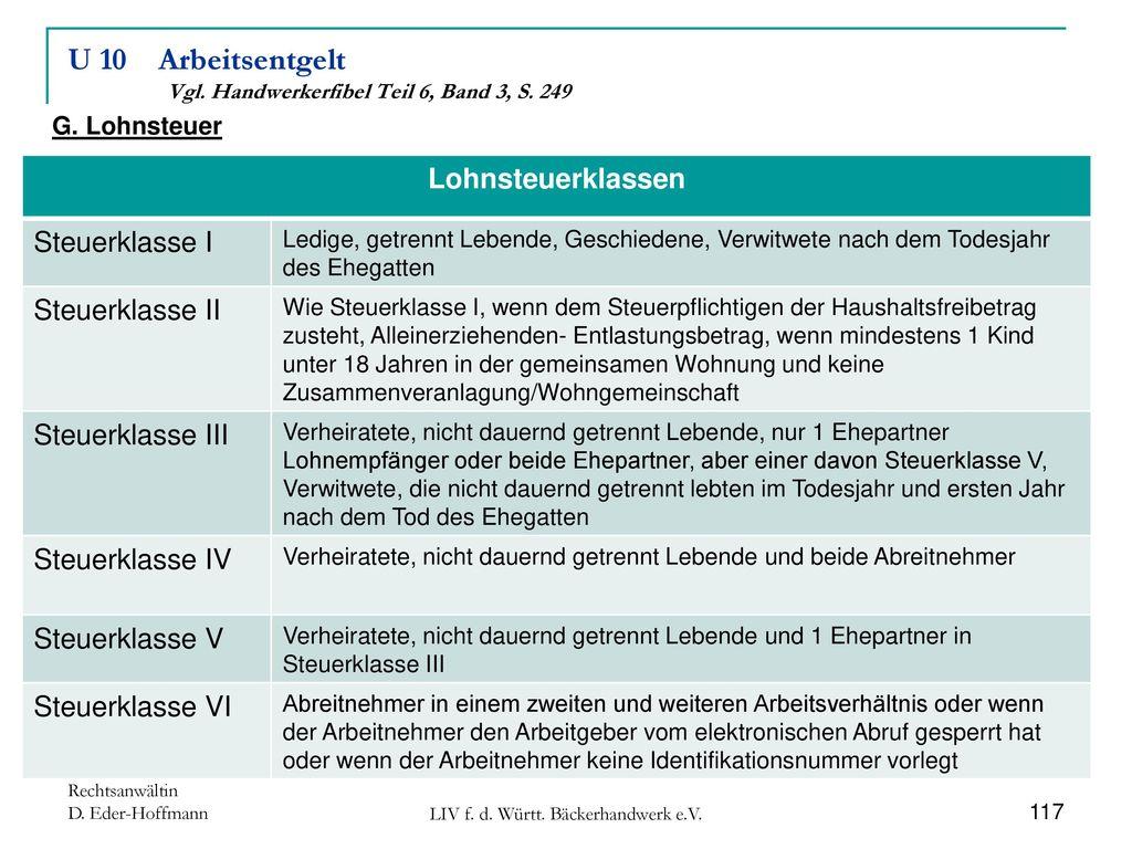 U 10 Arbeitsentgelt Vgl. Handwerkerfibel Teil 6, Band 3, S. 249