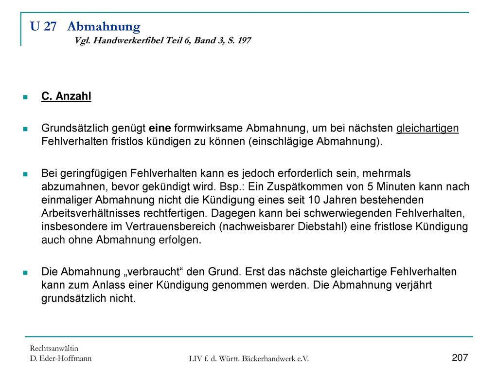 U 27 Abmahnung Vgl. Handwerkerfibel Teil 6, Band 3, S. 197