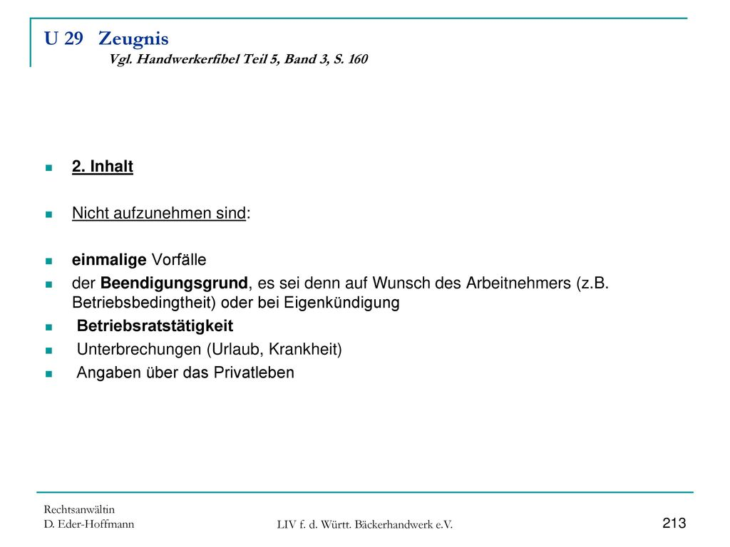 U 29 Zeugnis Vgl. Handwerkerfibel Teil 5, Band 3, S. 160