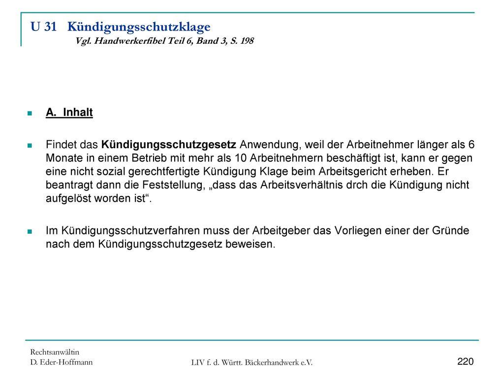 U 31 Kündigungsschutzklage Vgl. Handwerkerfibel Teil 6, Band 3, S. 198