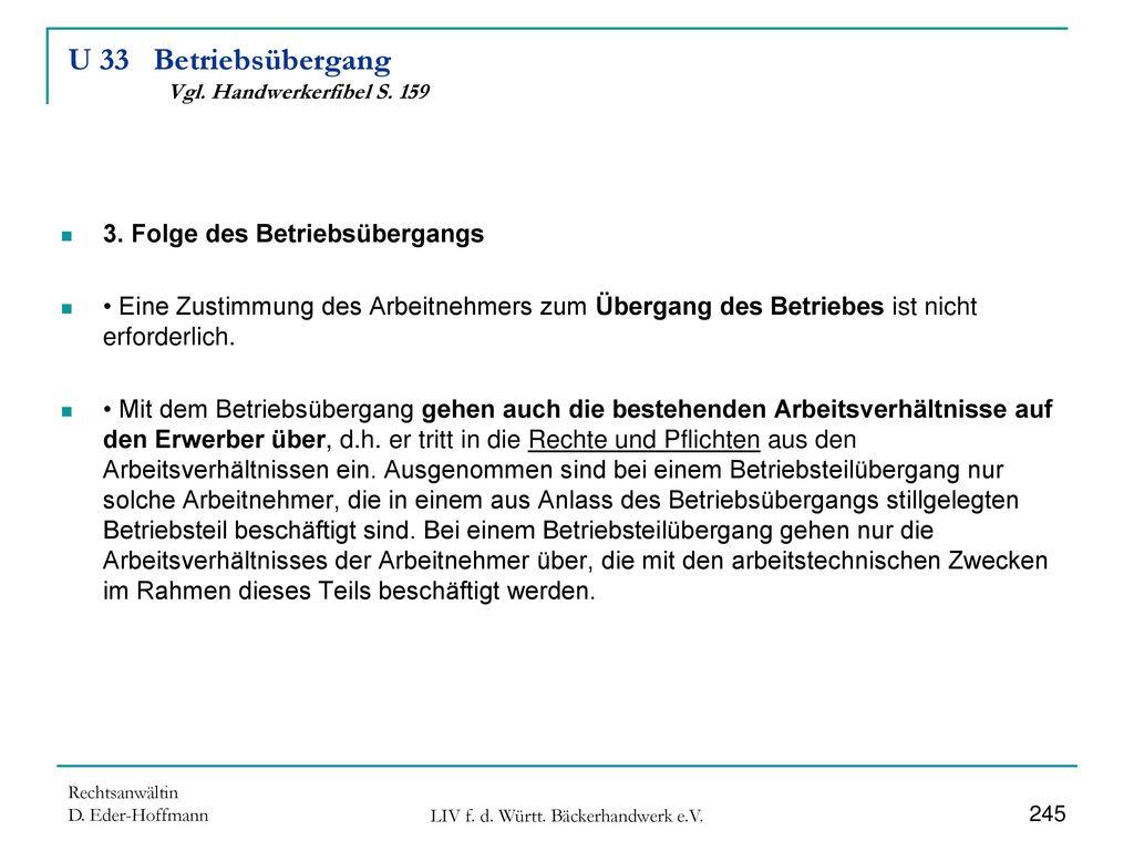 U 33 Betriebsübergang Vgl. Handwerkerfibel S. 159