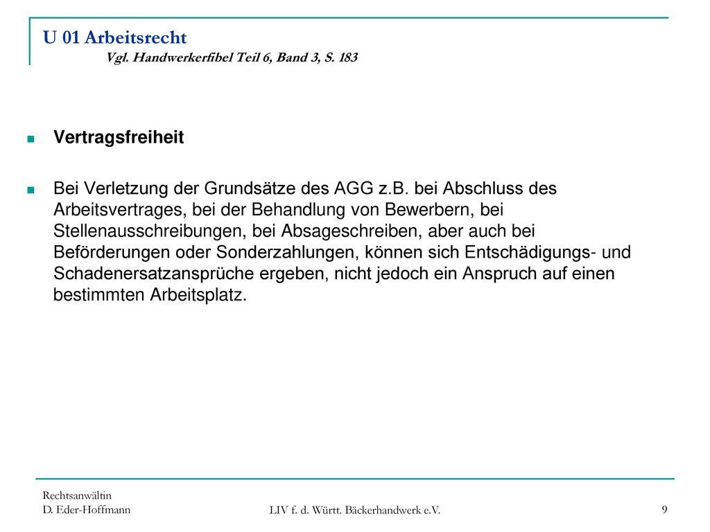 U 01 Arbeitsrecht Vgl. Handwerkerfibel Teil 6, Band 3, S. 183