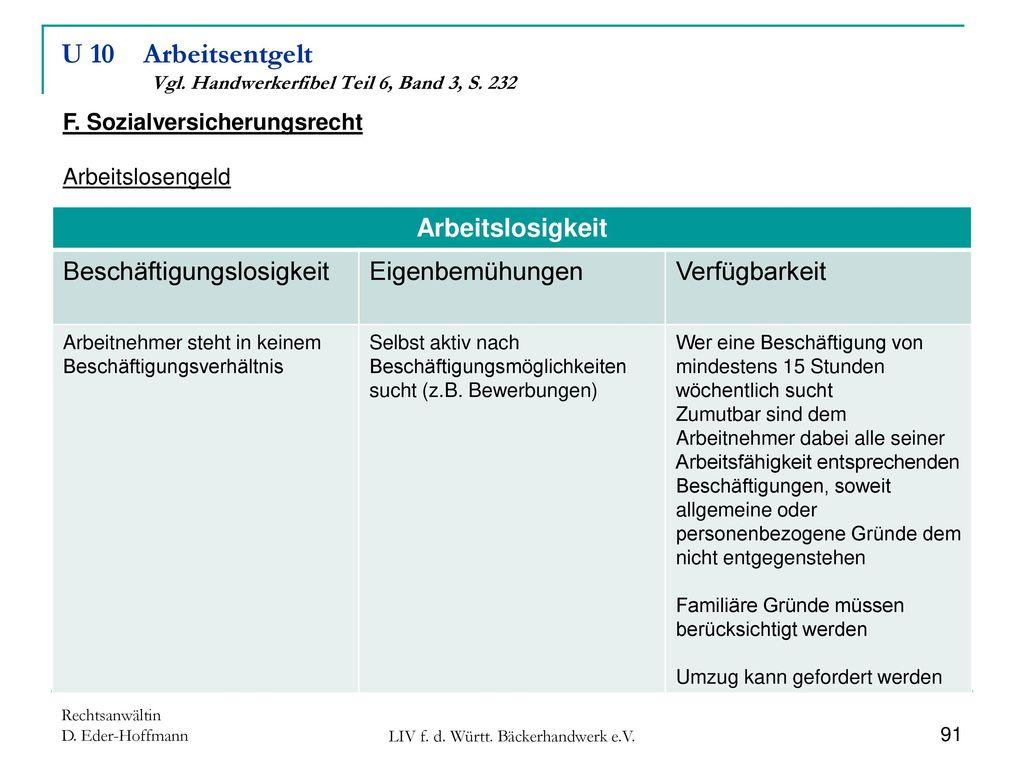 U 10 Arbeitsentgelt Vgl. Handwerkerfibel Teil 6, Band 3, S. 232