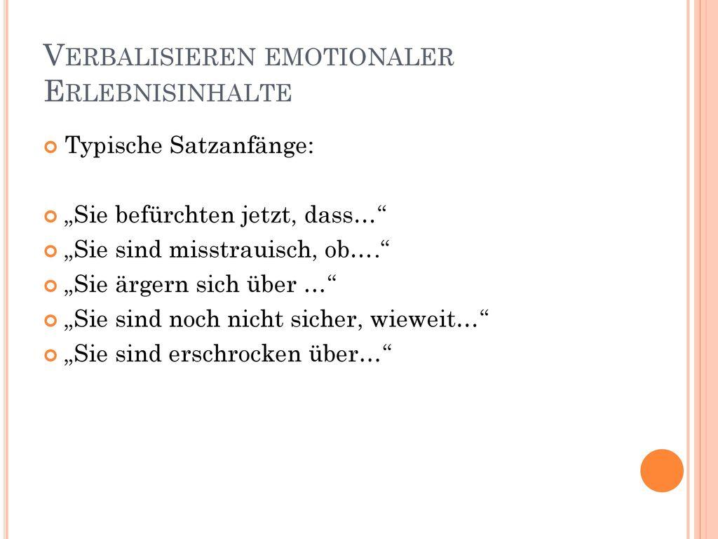Verbalisieren emotionaler Erlebnisinhalte