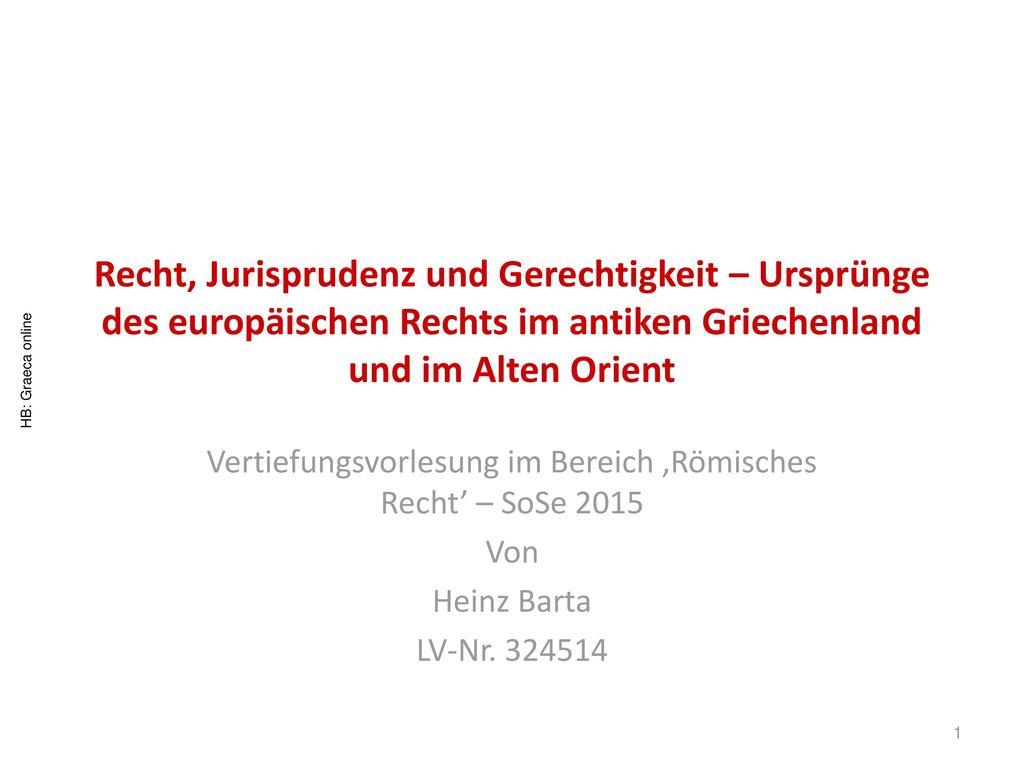 Vertiefungsvorlesung im Bereich 'Römisches Recht' – SoSe 2015