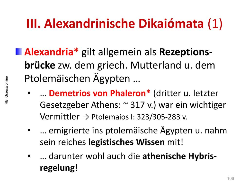 III. Alexandrinische Dikaiómata (1)