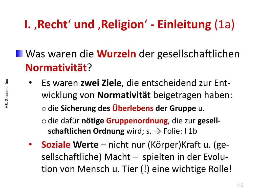 I. 'Recht' und 'Religion' - Einleitung (1a)