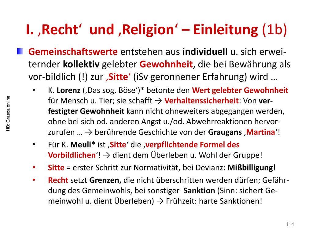 I. 'Recht' und 'Religion' – Einleitung (1b)