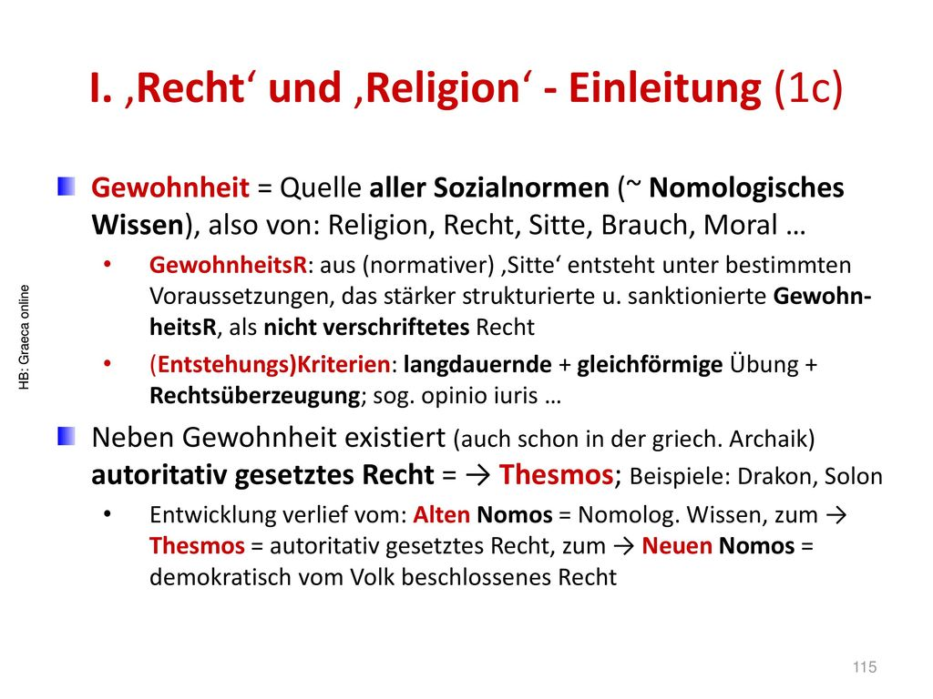 I. 'Recht' und 'Religion' - Einleitung (1c)