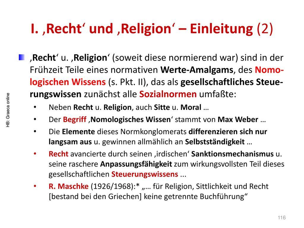 I. 'Recht' und 'Religion' – Einleitung (2)