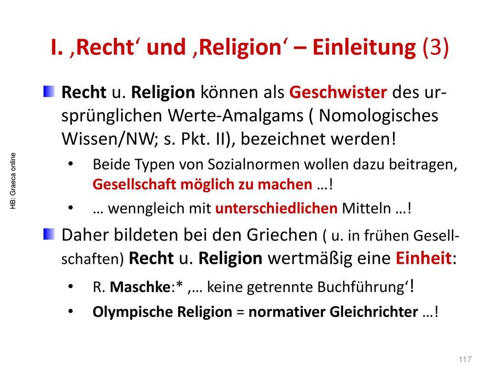 I. 'Recht' und 'Religion' – Einleitung (3)