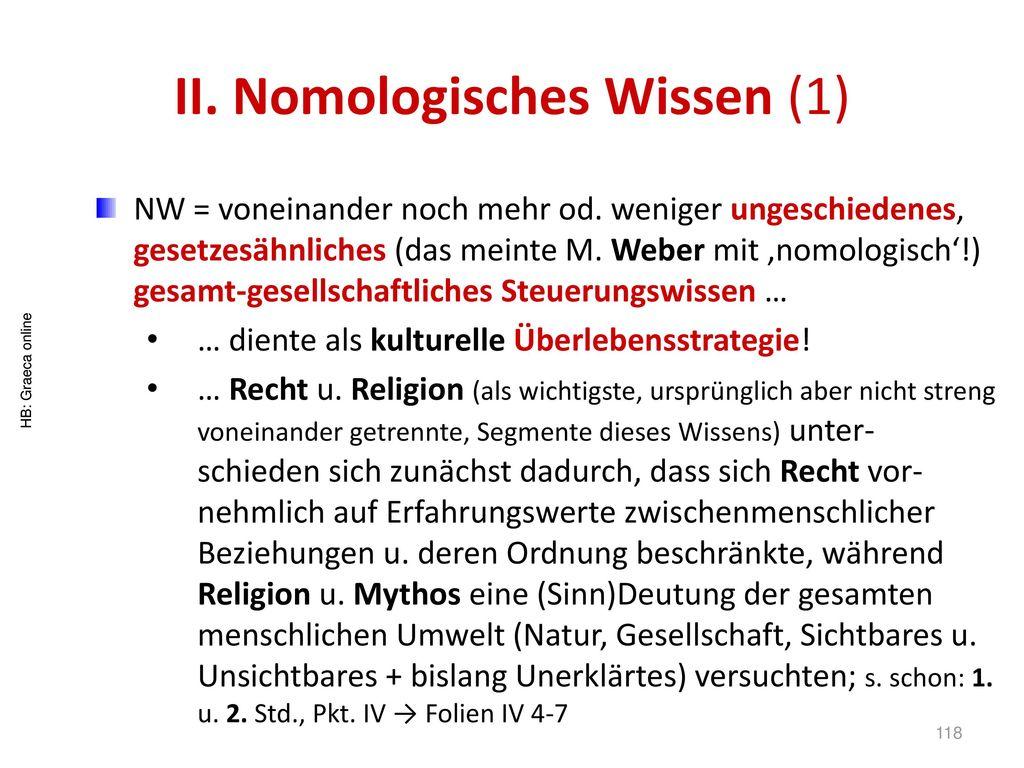 II. Nomologisches Wissen (1)