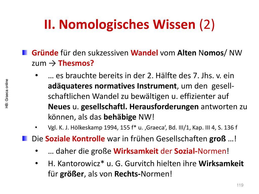 II. Nomologisches Wissen (2)