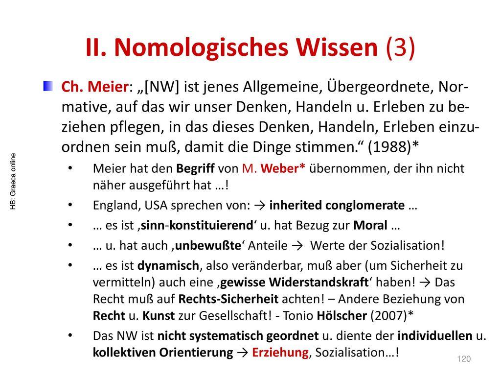 II. Nomologisches Wissen (3)